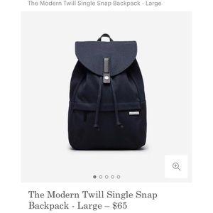 Everlane Modern Twill Single Snap lrg backpack